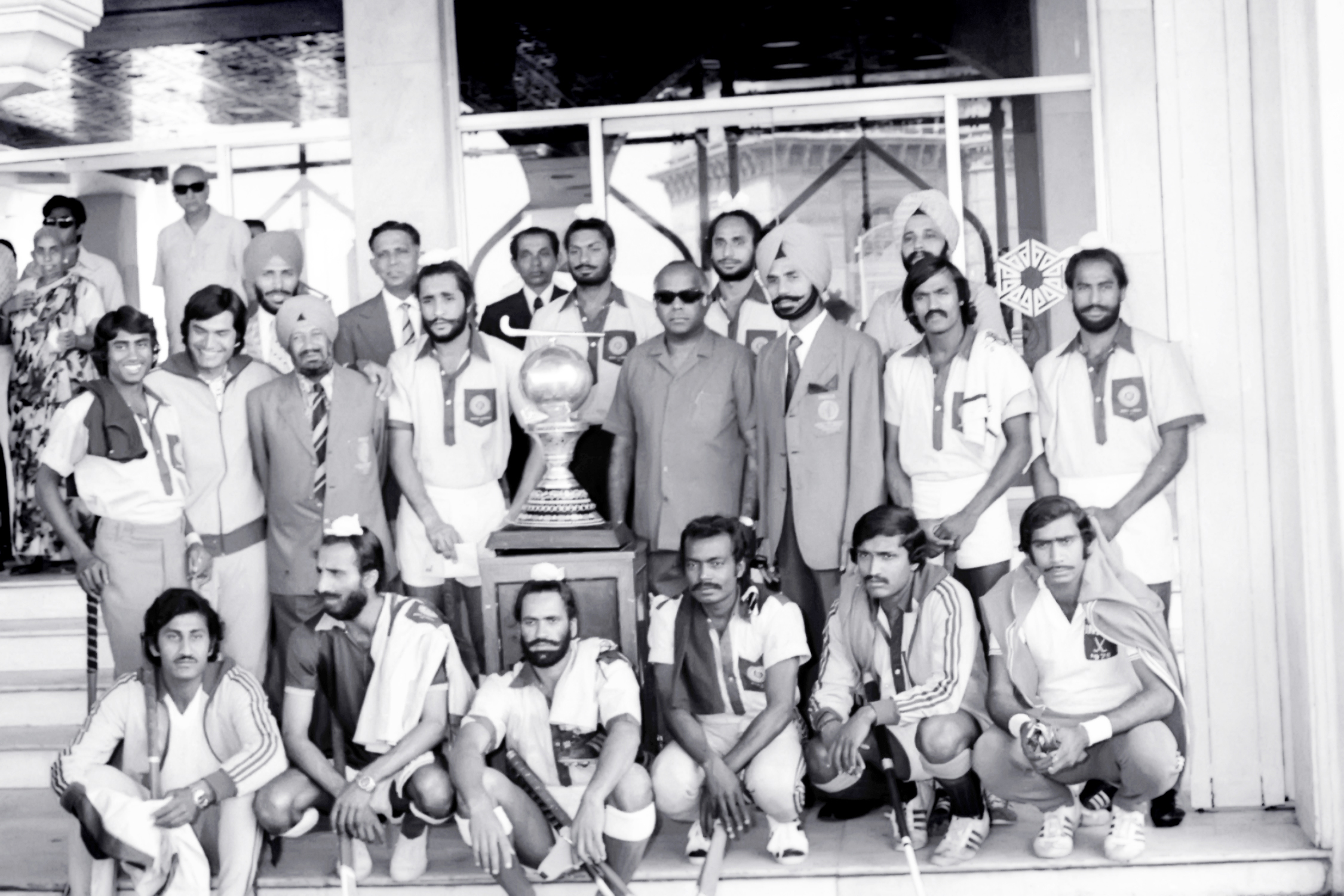 Indian Men's Hockey Team after winning the 1975 Men's World Cup in Kuala Lumpur, Malaysia